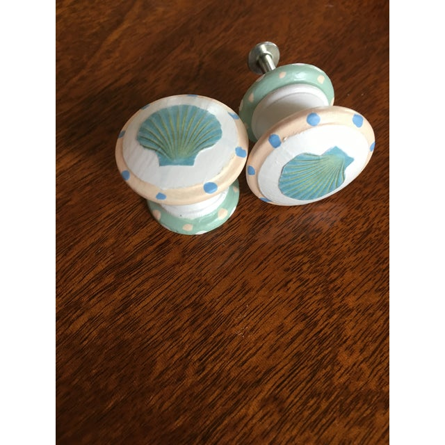Children's Scallop Shell Hand Painted Decoupage Knobs - A Pair For Sale - Image 3 of 3