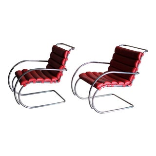 Modern Knoll Style Red Leather Mr Lounge Chairs- A Pair For Sale