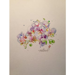 """Contemporary """"Sweet Pea"""" Floral Watercolor Painting For Sale"""