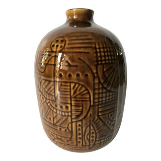 Mid Century Cubist Pottery Vase For Sale