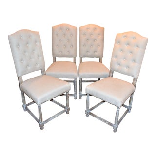 Tufted Linen Upholstered White Wash Dining Chairs - Set of 4 For Sale