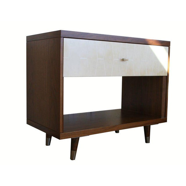 Customizable Francois Walnut and Parchment Nightstands For Sale - Image 4 of 9
