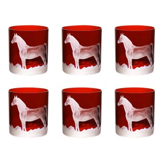 ARTEL Horse Double Old Fashioned Glass, Red, Set of 6 For Sale