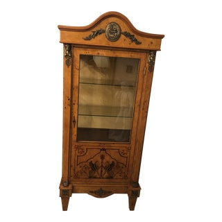 1920s Antique Egyptian Revival Empire Style Olive Wood Vitrine For Sale