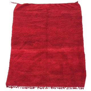 Vintage Red Tribal Moroccan Berber African Wool Rug - 6′1″ × 10′1″ For Sale