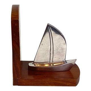 Mid-Century Steel Boat Walnut Wood Bookend For Sale