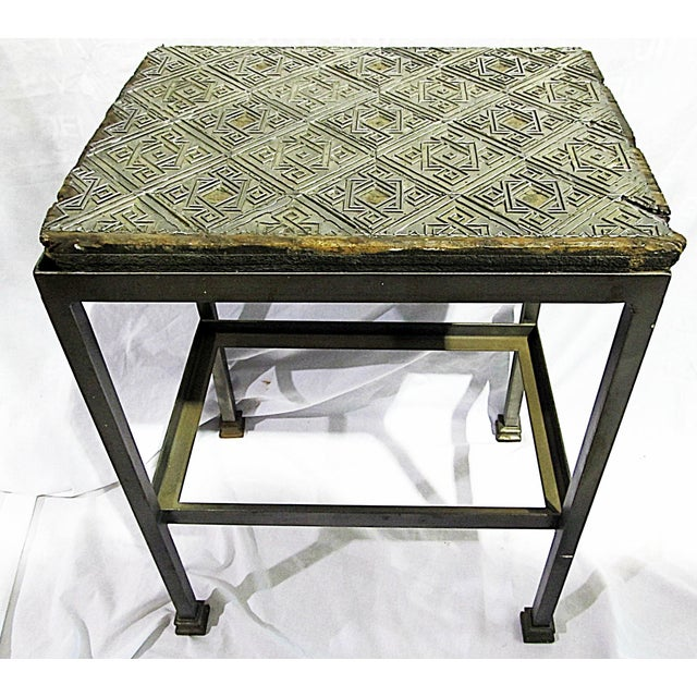 Industrial Antique Wallpaper-Print Steel End Table For Sale - Image 3 of 5