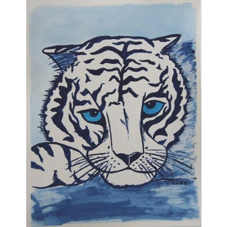 Tiger Portrait Face Chinoiserie Painting by Cleo Plowden For Sale
