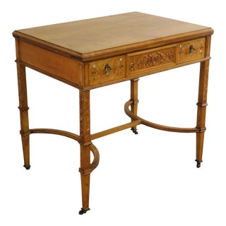 Newman & Co Antique Aesthetic Birdseye Maple Marquetry Inlaid One Drawer Vanity Table For Sale