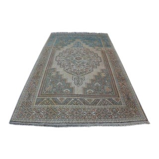 1960s Vintage Turkish Oushak Hand-Knotted Rug - 6′6″ × 11′5″ For Sale