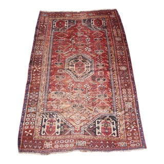 "Antique Red Persian Rug - 4'10"" x 7'4"" For Sale"
