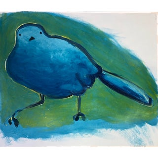 """""""Blue Bird"""" Original Oil Painting on Paper For Sale"""