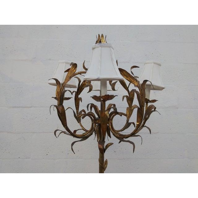 1950s 1950's Italian Florentine Gilt Tole Floral 4 Arm Floor Lamp For Sale - Image 5 of 12