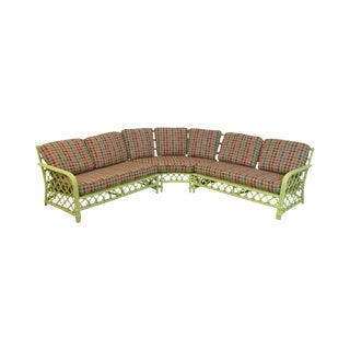 Ficks Reed Vintage Green Rattan Sectional Sofa For Sale