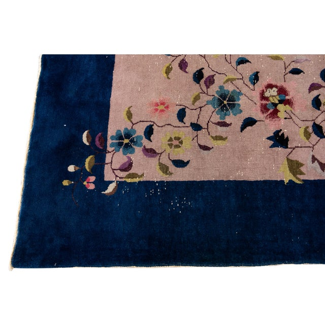 1920s Antique Rose Chinese Art Deco Wool Rug 8 Ft 9 in X 11 Ft 8 In. For Sale - Image 5 of 12
