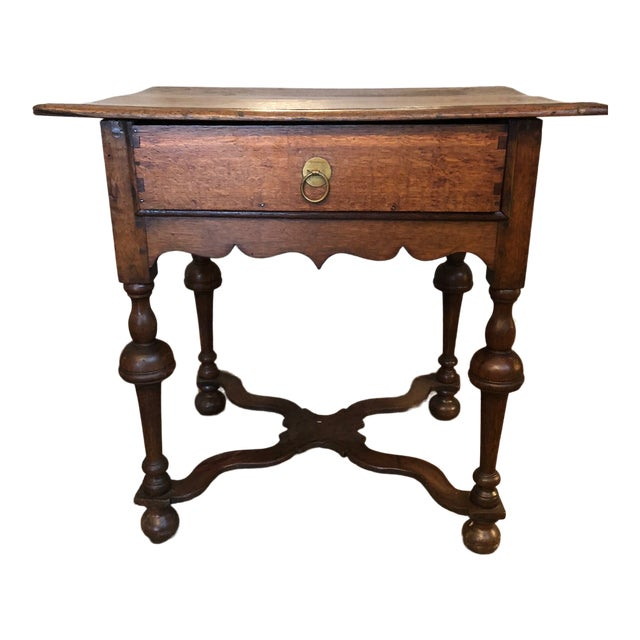 19th Century Traditional William & Mary Revival English Oak Table with Drawer For Sale