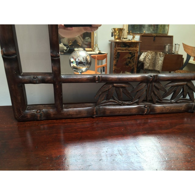 Faux Bamboo Carved Wood Mirror For Sale In Los Angeles - Image 6 of 8