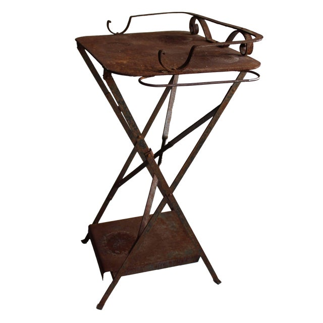 Weathered Outdoor Table/Plant Stand For Sale