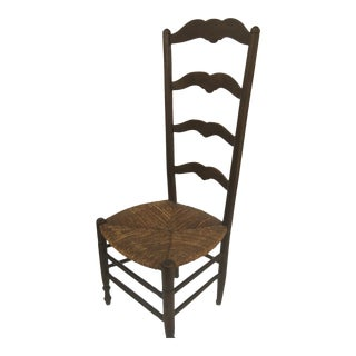 19th Century French Country Ladder Back Chair with Rush Seat For Sale