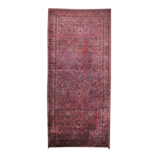 Antique Persian Sarouk Gallery Rug with Art Nouveau Style in Rich Jewel Tones