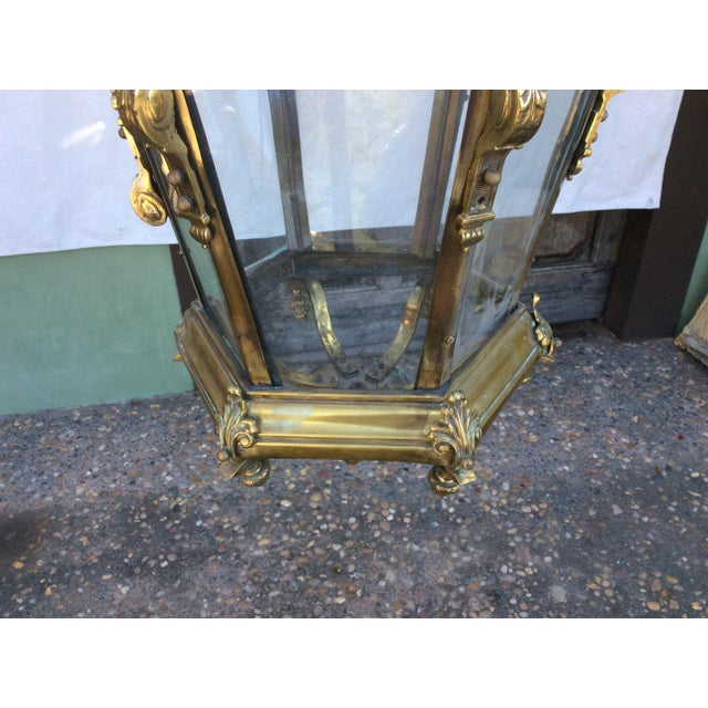 Brass Antique Brass English Hall Lantern For Sale - Image 7 of 10