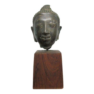 Bronze Buddha Head Sculpture on Walnut Stand For Sale