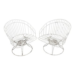 Homecrest Wrought Iron White Steel Barrel Chairs Patio Set - a Pair For Sale