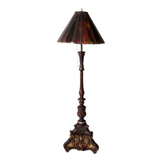 Antique Carved Wood Floor Lamp With Glass Shade For Sale
