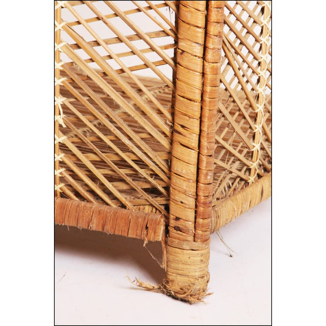 Rattan Vintage Boho Chic Wicker Bookcase with Dome Top For Sale - Image 7 of 11