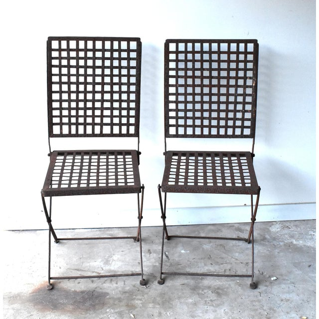 1940s Vintage 1940s Wrought Iron Folding Garden Chairs - a Pair For Sale - Image 5 of 11