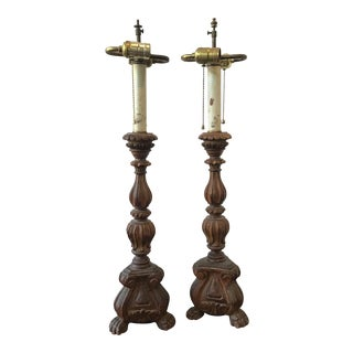 1920s Wood Italian Alter Stick Lamps - A Pair For Sale