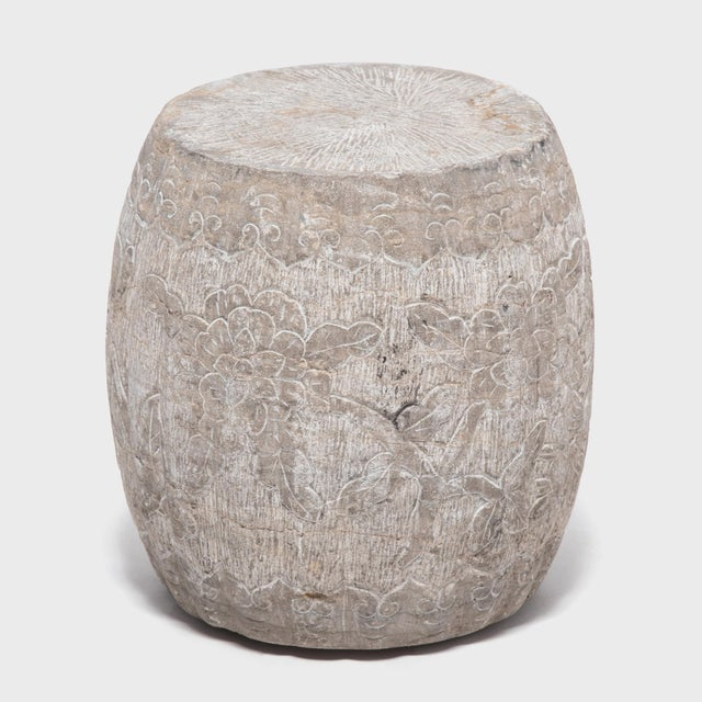This drum form was hand-carved from a solid piece of limestone in China's Shanxi Province. Its melon shape is an ancient...