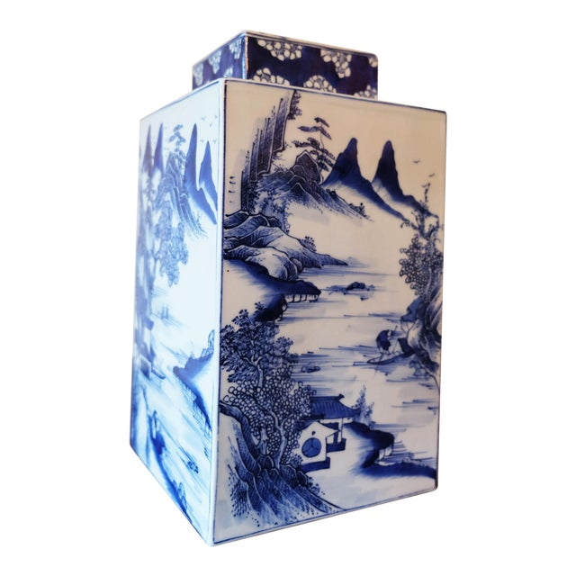 Blue White Chinese Vase Tea Caddy Reproduction Chairish