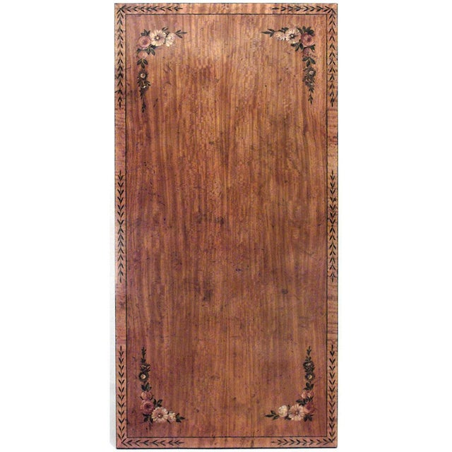 English Hepplewhite style rectangular satinwood floral decorated coffee table with double lyre design base with stretcher...