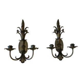 1930's Iron Candle Sconces - a Pair For Sale