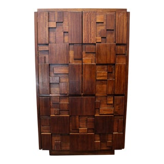 1970's Mid Century Modern Brutalist Mosaic Patchwork Tall Chest by Lane