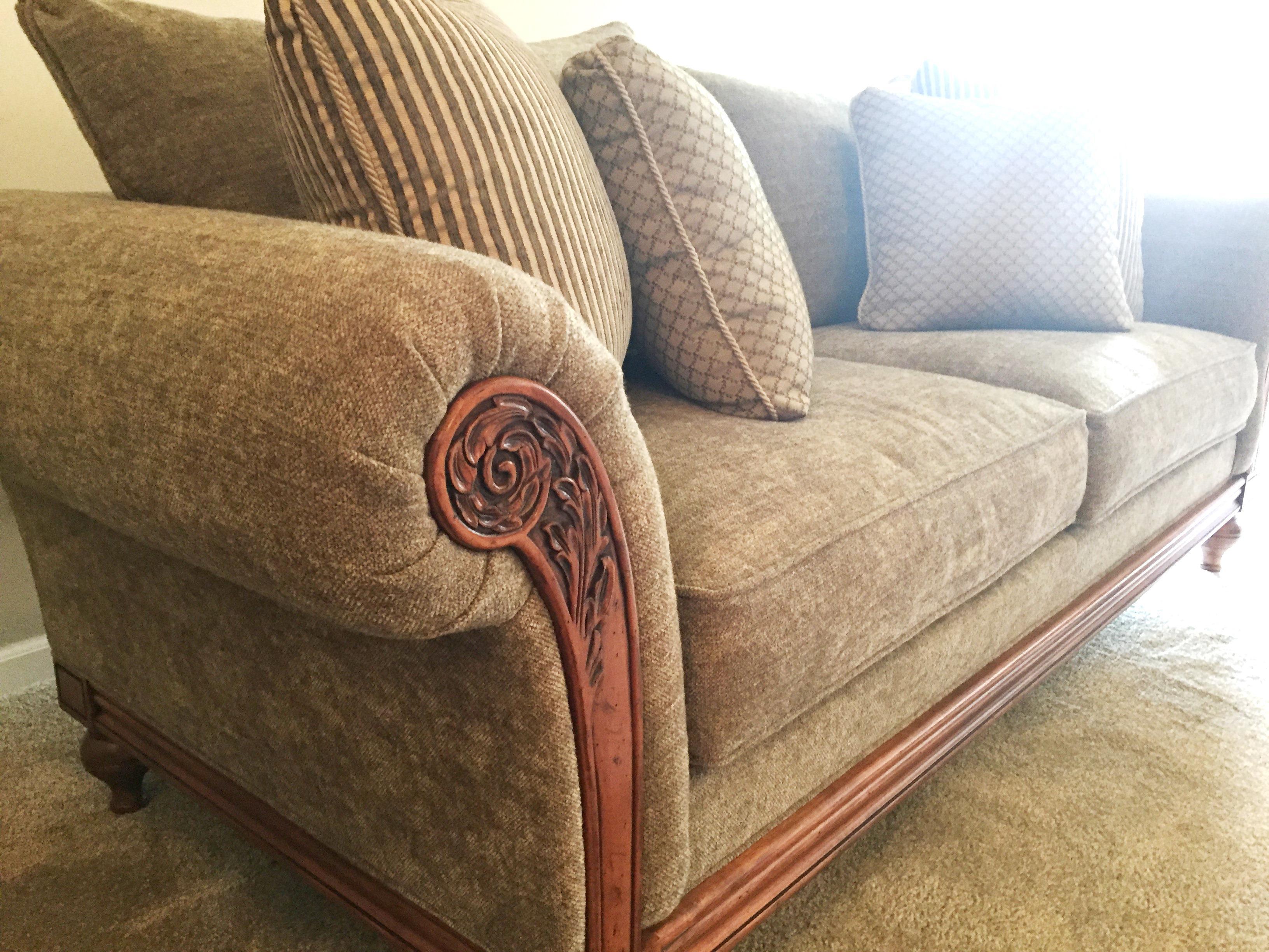 Ethan Allen Green Pratt Sofa   Image 6 Of 8