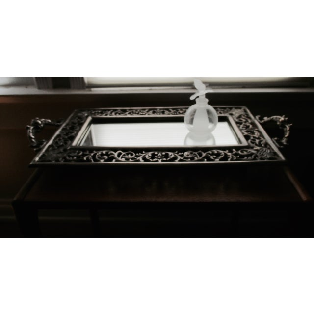 Vintage Ornate Silver Filigree & Mirrored Tray - Image 9 of 10