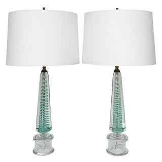 Murano Turquoise Swirl Glass Table Lamps - a Pair For Sale