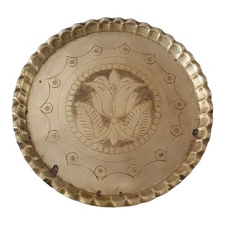 1940s Fluted Edge Brass Temple Tray For Sale