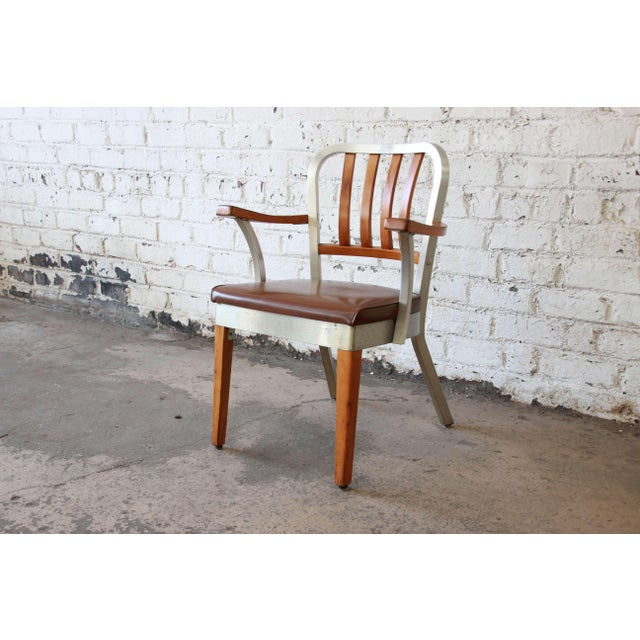 Industrial 1950s Shaw Walker Maple and Aluminium Armchair With Leather Seat For Sale - Image 3 of 10