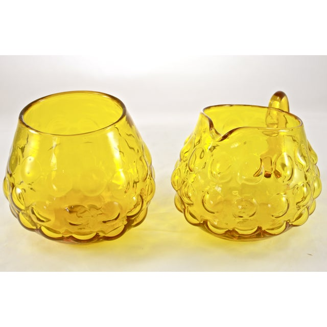 Mid-Century Modern Blenko Yellow Bubble Glass Cream & Sugar - A Pair For Sale - Image 3 of 4