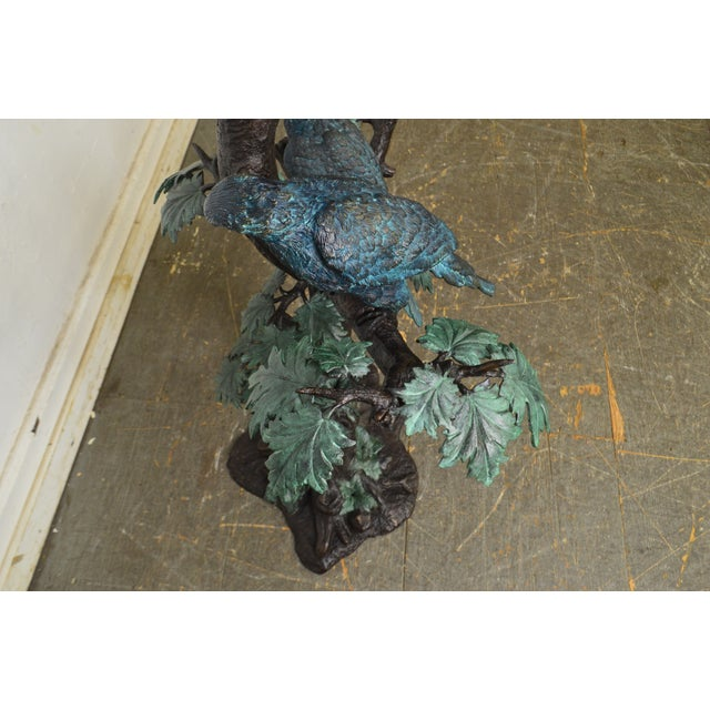 Cold Painted Bronze Large Statue of Jungle Birds on a Tree For Sale - Image 10 of 13