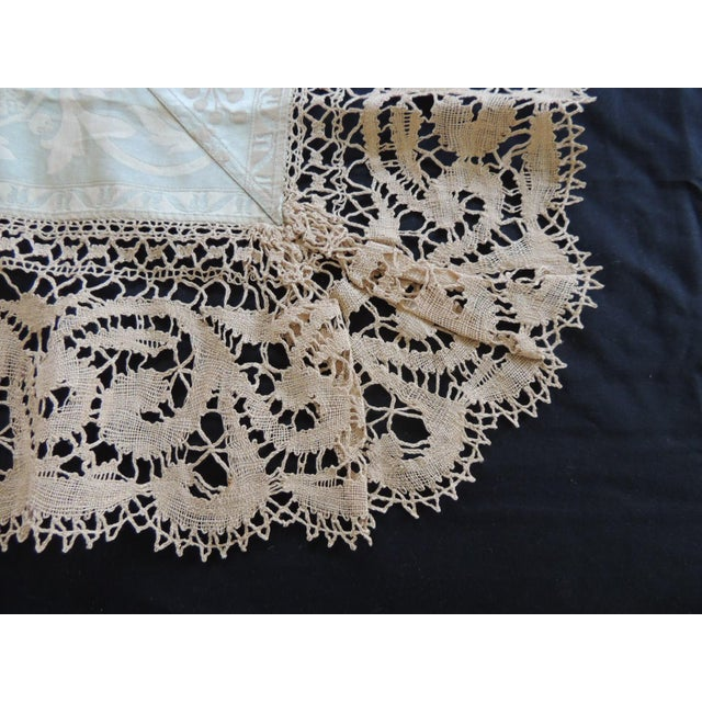 Bobbin Lace and Damask Pillow Topper With Large Lace Center Panel For Sale - Image 4 of 6