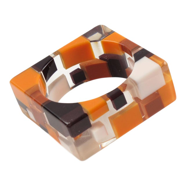 Oversized Lucite Resin Bracelet Bangle Geometric Inclusions Orange Brown and White For Sale
