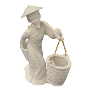 White Porcelain Statue of Asian Man Carrying Water For Sale