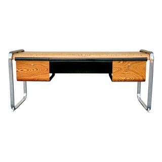1970s Mid Century Modern Eames Herman Miller Zebra Wood Desk For Sale