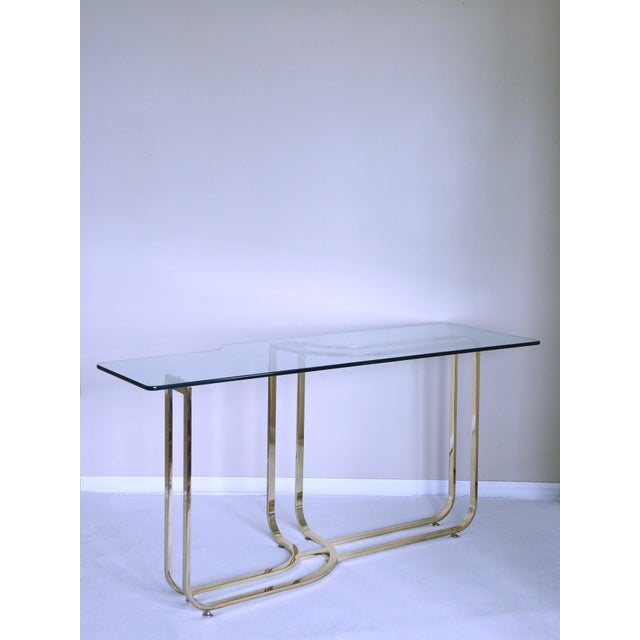 Brass 1980s Hollywood Regency Sculptural Brass Console Table For Sale - Image 7 of 7