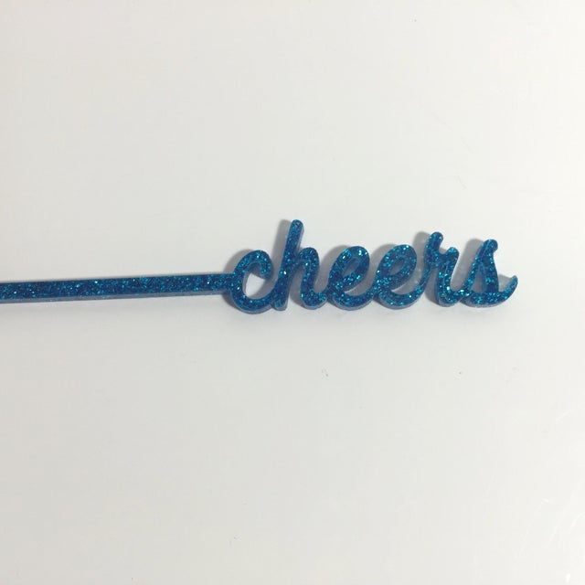 Blue Glitter Cheers Drink Stirrers - Set of 6 - Image 7 of 8