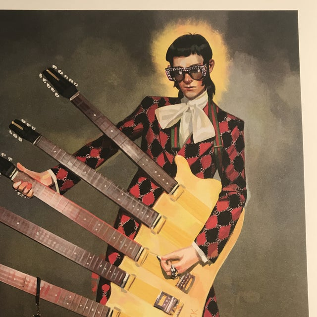 Black Framed Gucci Abstract Motorcycle Shoes & Rockstar Guitar Fashion Self Portrait Art - a Pair For Sale - Image 8 of 11